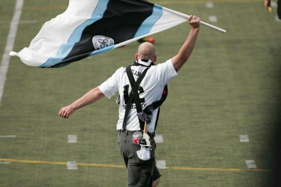 Flags: a supporters club standard. (David Willoughby)