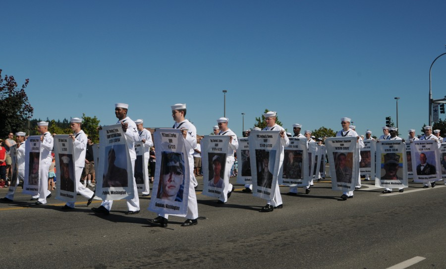Part of the US Pacific Fleet marches in the annual Silverdale Whaling Days Parade.