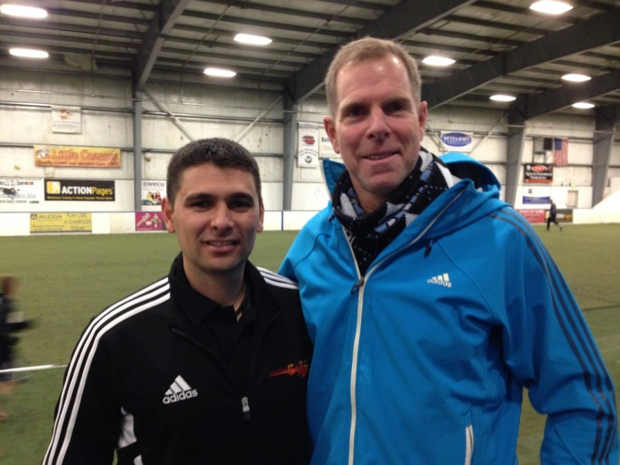 Wenatchee United's Javier Reyna (left) visits with EPLWA President Peter Ostrovsky in Bellingham on November 23rd as the Fire played the Rapids.