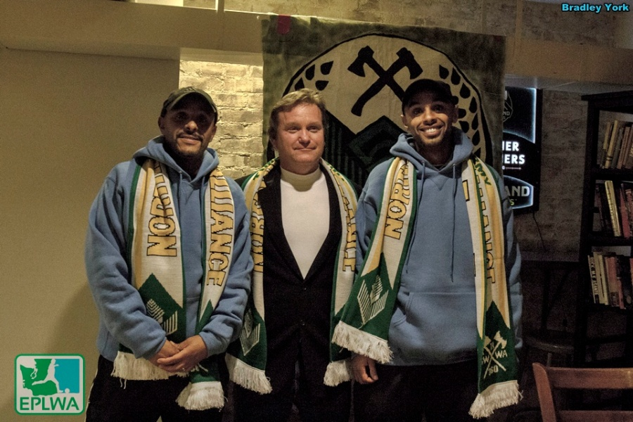 The Northern Alliance supporters group gave scarves to the V2FC staff. (Bradley York)