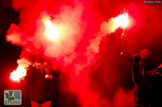 The Northern Alliance greeted V2FC with a smoke and flares display after the conference. (Bradly York)