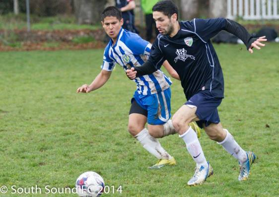 South Sound FC (right) at Gorge FC on March 29, 2014.)