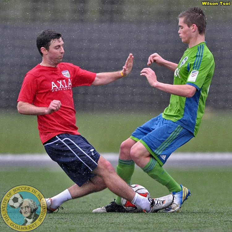 Daniel Gray (left) featured for the South Sound Shock against the Sounders Academy on April 19th.  (Wilson Tsoi)