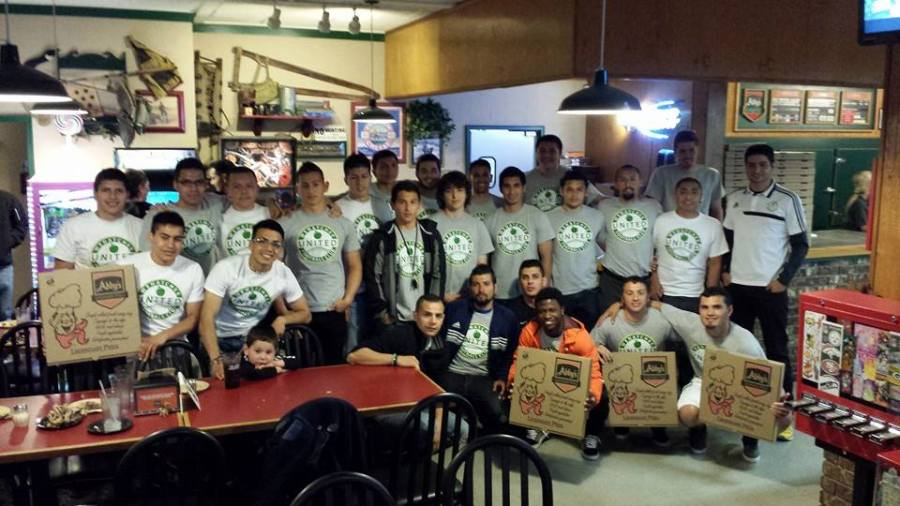 Wenatchee United team dinner at Abby's Pizza last week.
