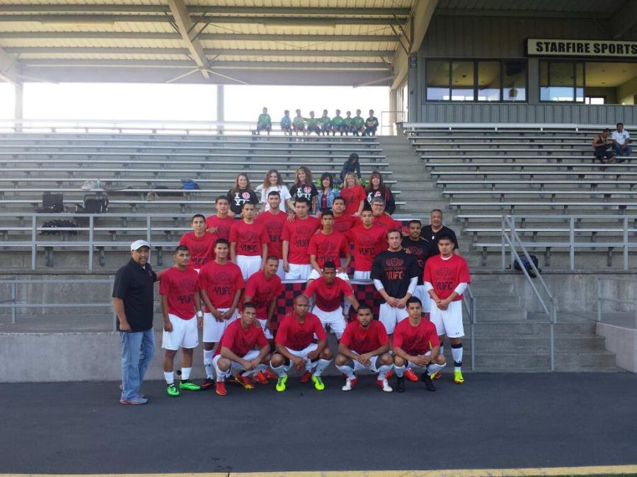 Yakima United tweets a travel photo with players and (back row) fans before playing the Seattle Stars at Starfire May 24.