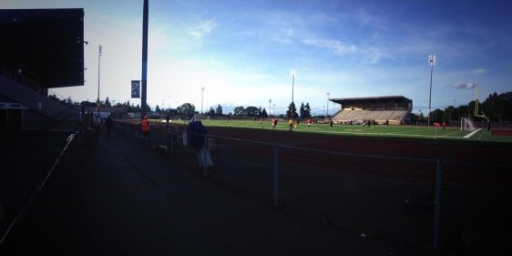 The sunny scene from Harry Lang Stadium in Lakewood. (South Sound FC tweeted photos)