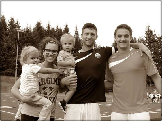 Potts, his family, and (at right) WestSound FC goalkeeper Jordan Hadden.