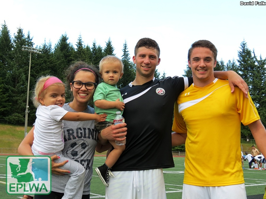 Leo Potts, his family and WestSound FC goalkeeper Jordan Hadden (yellow), pose after the home win. (David Falk)