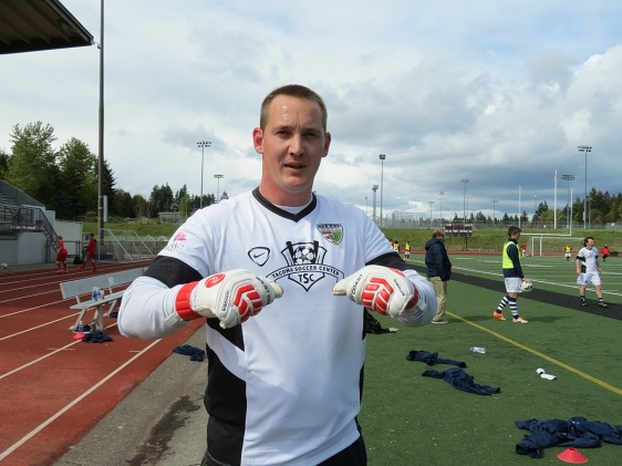 South Sound goalkeeper Chris Kintz poses with his West Coast Goalkeeping gloves. Kintz leads the EPLWA with three shut outs. (David Falk)