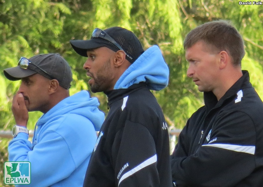 Vancouver's intense coaches on the sidelines. (David Falk)