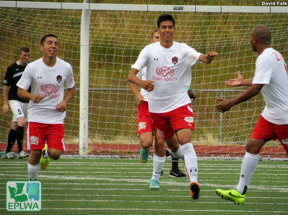 """Willie """"Ceppi"""" Pineda (center) is congratulated after he put the Hoppers up 2-1 in the 48th minute. (David Falk)"""