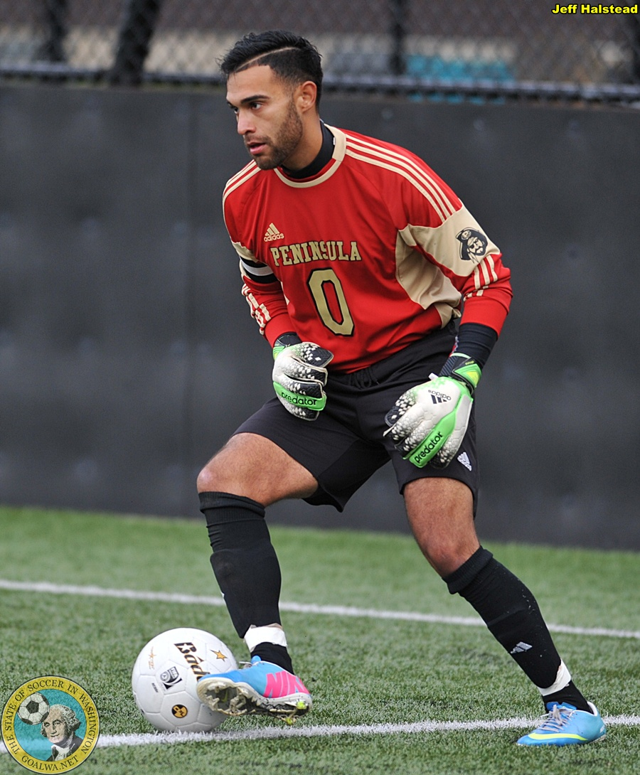 Angel Guerra won back-to-back NWAACC titles in goal for Peninsula College. (Jeff Halstead)