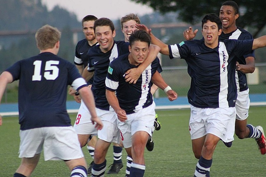 The Shadow celebrate Graison Le's winner against South Sound. (Gerald Barnhart)