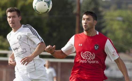 Hector Valdovinos, at right, has nine goals for the Hoppers with one match left to go. (Yakima Herald)
