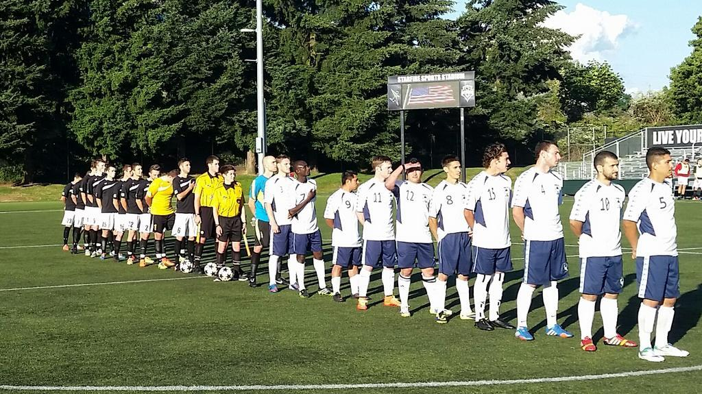 WestSound (left) and Seattle line up before their Sunday night battle at Starfire on July 6. (Facebook)