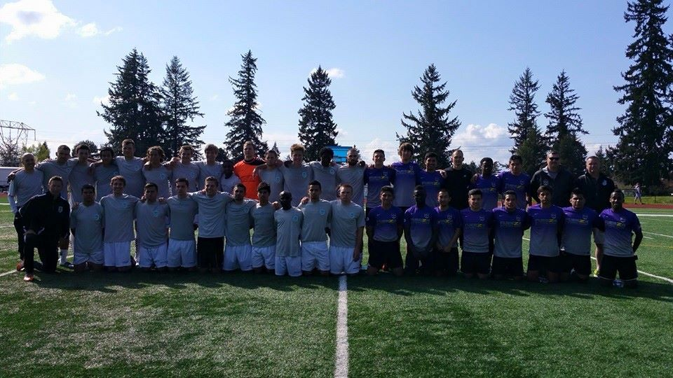 """V2FC (left) and Fuerza FC got some """"firsts"""" out of the way on Saturday.  It was the first meatch for new Victory head coach Aaron Lewis, and the first-ever match for the Fuerza Men. (Fuerza photo)"""