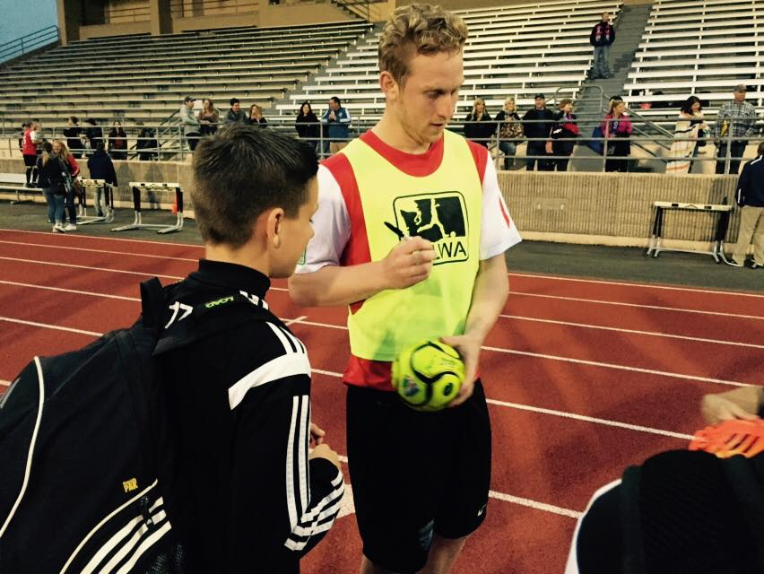 Vince McCluskey signs autographs after his second half hat trick helped the South Sound Shock wallop Wenatchee FC 8-2. (Shock Facebook)