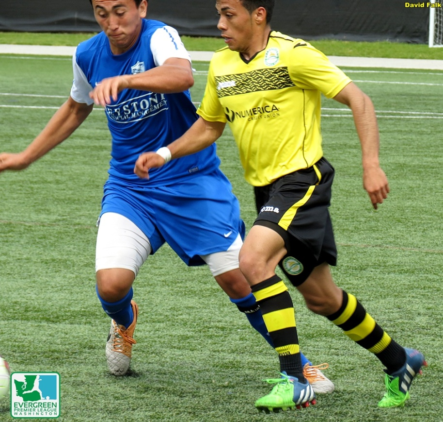 Izzy Deluna (left, Olympic Force) tries to keep up with Eleazar Galvan (right, Wenatchee FC.) (David Falk)