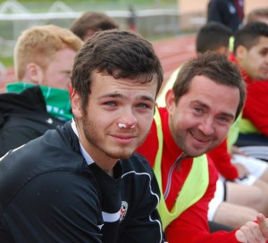 Nick Rasmussen (left), got a bloody nose last season while playing for WestSound FC. (Margaret Bond)