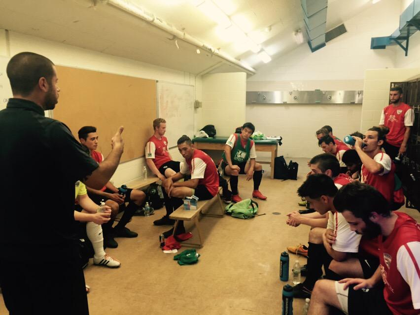 Shock Talk: Head Coach Adam Becker preps South Sound before they take the pitch in Vancouver. (SSFC Twitter)