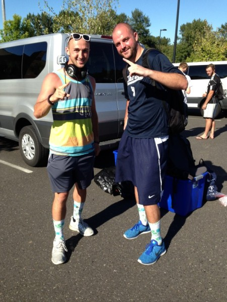 Karl Muelheims and Jeff Srock wear their Player of the Week socks after the Shadow clinch the 2015 EPLWA title. (Peter Ostrovsky)